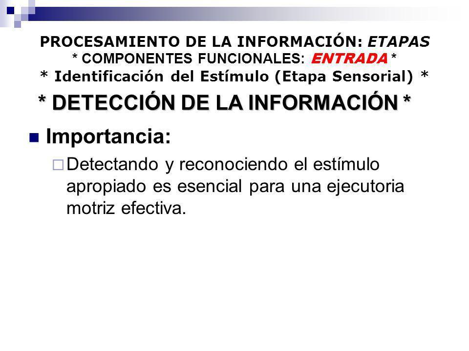 PROCESAMIENTO DE LA INFORMACIÓN: ETAPAS * COMPONENTES FUNCIONALES: ENTRADA * * Identificación del Estímulo (Etapa Sensorial) * Importancia: Detectando