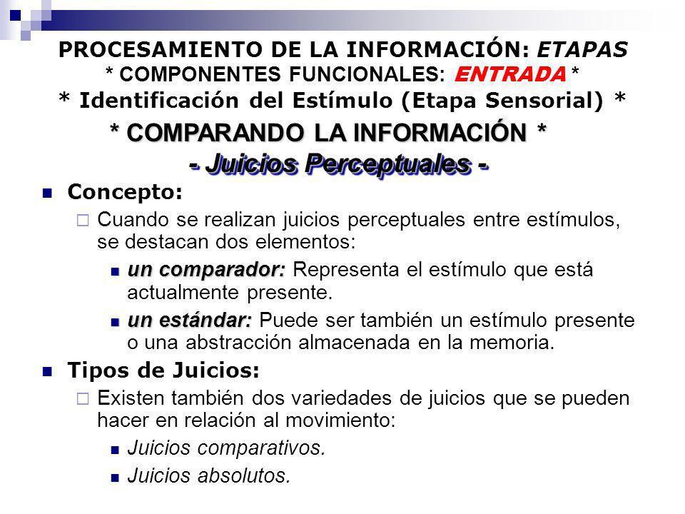 PROCESAMIENTO DE LA INFORMACIÓN: ETAPAS * COMPONENTES FUNCIONALES: ENTRADA * * Identificación del Estímulo (Etapa Sensorial) * Concepto: Cuando se rea