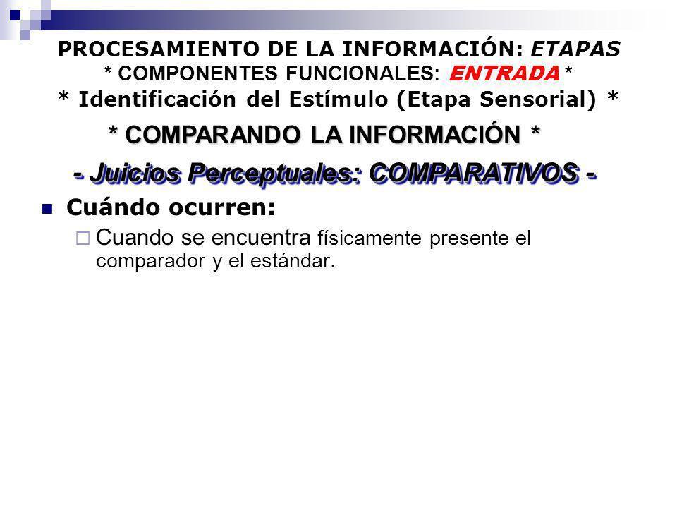 PROCESAMIENTO DE LA INFORMACIÓN: ETAPAS * COMPONENTES FUNCIONALES: ENTRADA * * Identificación del Estímulo (Etapa Sensorial) * Cuándo ocurren: Cuando
