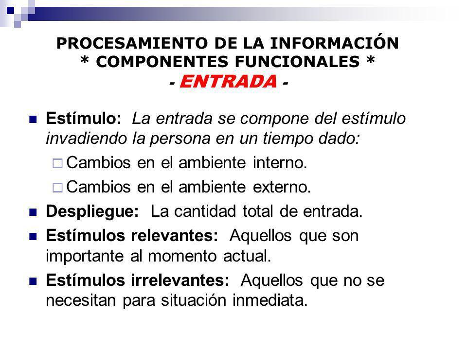 PROCESAMIENTO DE LA INFORMACIÓN * COMPONENTES FUNCIONALES * - ENTRADA - Estímulo: La entrada se compone del estímulo invadiendo la persona en un tiemp