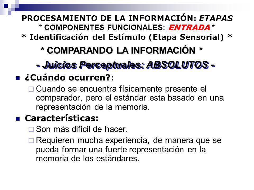 PROCESAMIENTO DE LA INFORMACIÓN: ETAPAS * COMPONENTES FUNCIONALES: ENTRADA * * Identificación del Estímulo (Etapa Sensorial) * ¿Cuándo ocurren?: Cuand