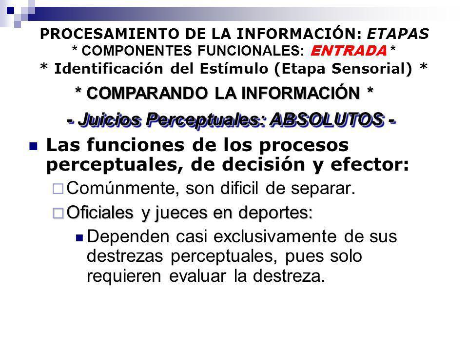 PROCESAMIENTO DE LA INFORMACIÓN: ETAPAS * COMPONENTES FUNCIONALES: ENTRADA * * Identificación del Estímulo (Etapa Sensorial) * Las funciones de los pr