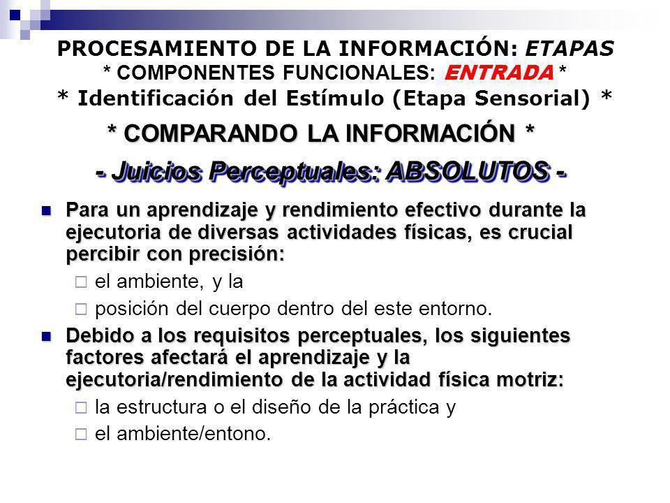 PROCESAMIENTO DE LA INFORMACIÓN: ETAPAS * COMPONENTES FUNCIONALES: ENTRADA * * Identificación del Estímulo (Etapa Sensorial) * Para un aprendizaje y r