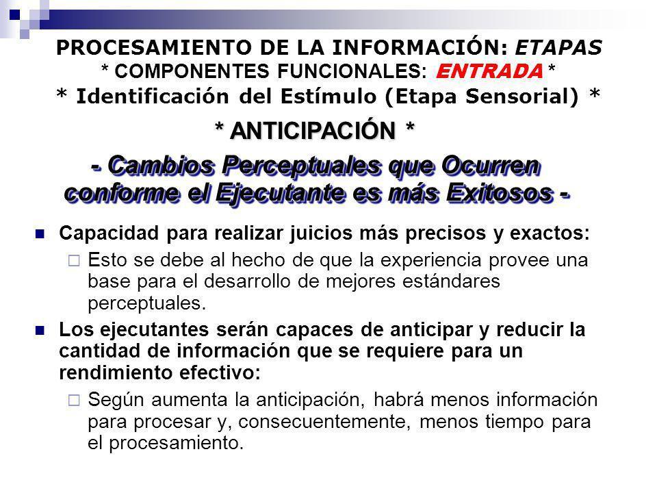 PROCESAMIENTO DE LA INFORMACIÓN: ETAPAS * COMPONENTES FUNCIONALES: ENTRADA * * Identificación del Estímulo (Etapa Sensorial) * Capacidad para realizar