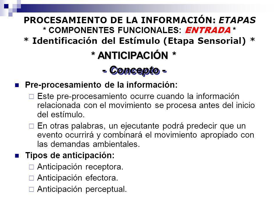 PROCESAMIENTO DE LA INFORMACIÓN: ETAPAS * COMPONENTES FUNCIONALES: ENTRADA * * Identificación del Estímulo (Etapa Sensorial) * Pre-procesamiento de la