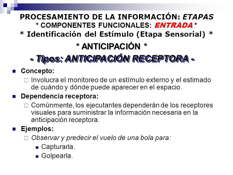 PROCESAMIENTO DE LA INFORMACIÓN: ETAPAS * COMPONENTES FUNCIONALES: ENTRADA * * Identificación del Estímulo (Etapa Sensorial) * Concepto: Involucra el