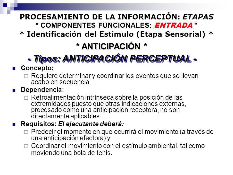 PROCESAMIENTO DE LA INFORMACIÓN: ETAPAS * COMPONENTES FUNCIONALES: ENTRADA * * Identificación del Estímulo (Etapa Sensorial) * Concepto: Requiere dete