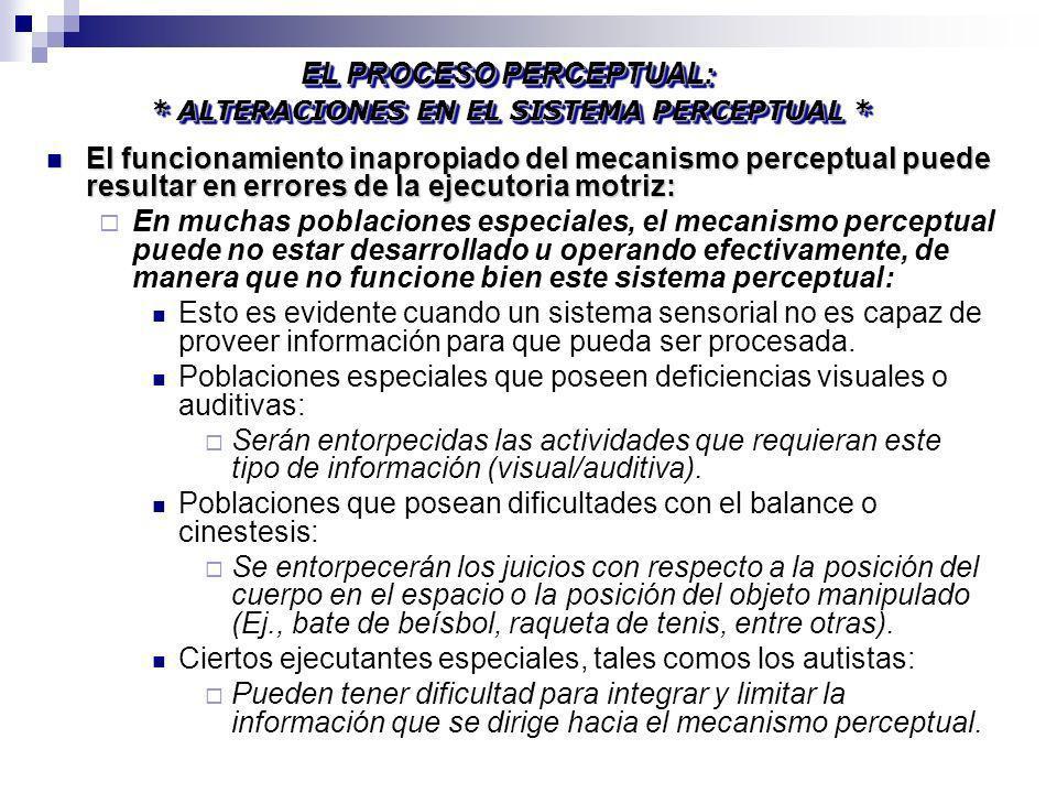 El funcionamiento inapropiado del mecanismo perceptual puede resultar en errores de la ejecutoria motriz: El funcionamiento inapropiado del mecanismo