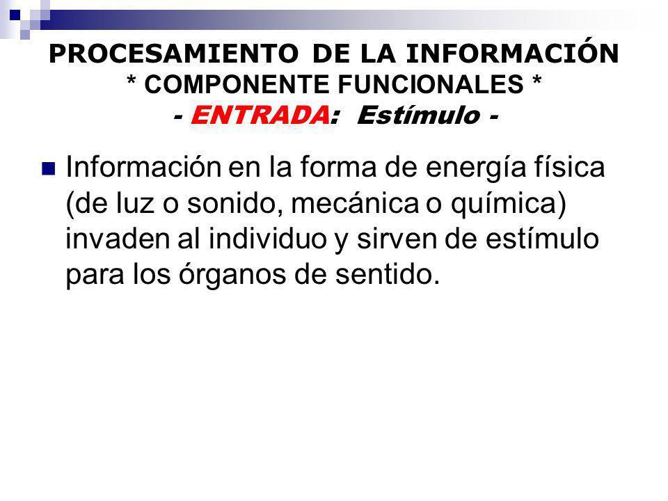 PROCESAMIENTO DE LA INFORMACIÓN * COMPONENTE FUNCIONALES * - ENTRADA: Estímulo - Información en la forma de energía física (de luz o sonido, mecánica