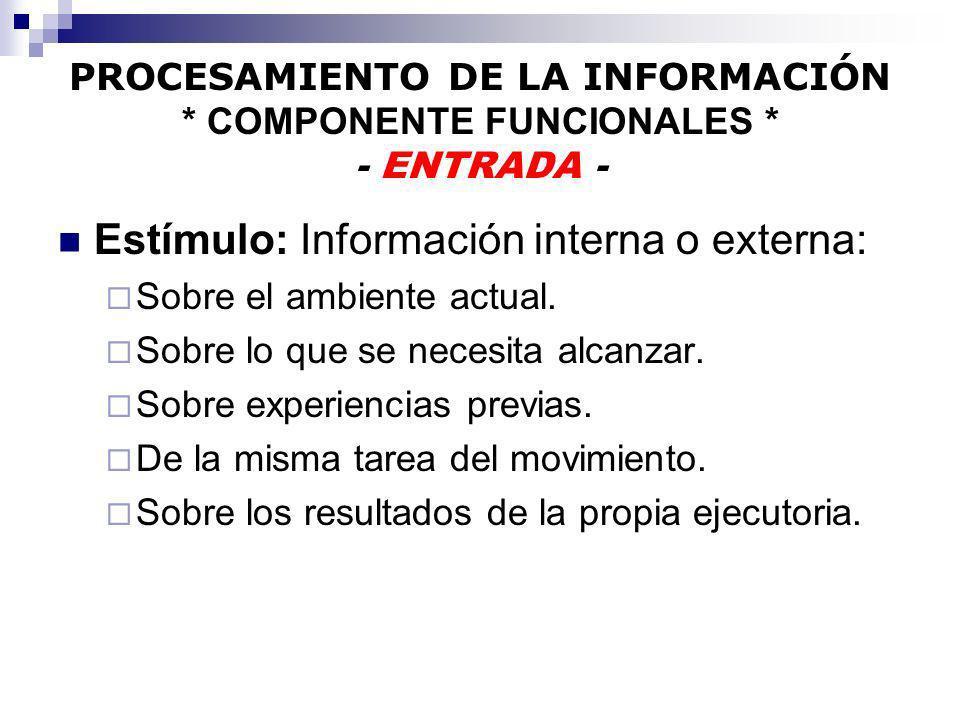 PROCESAMIENTO DE LA INFORMACIÓN * COMPONENTE FUNCIONALES * - ENTRADA - Estímulo: Información interna o externa: Sobre el ambiente actual. Sobre lo que