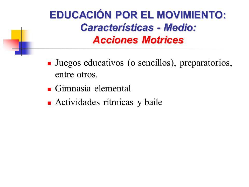 Juegos educativos (o sencillos), preparatorios, entre otros. Gimnasia elemental Actividades rítmicas y baile EDUCACIÓN POR EL MOVIMIENTO: Característi