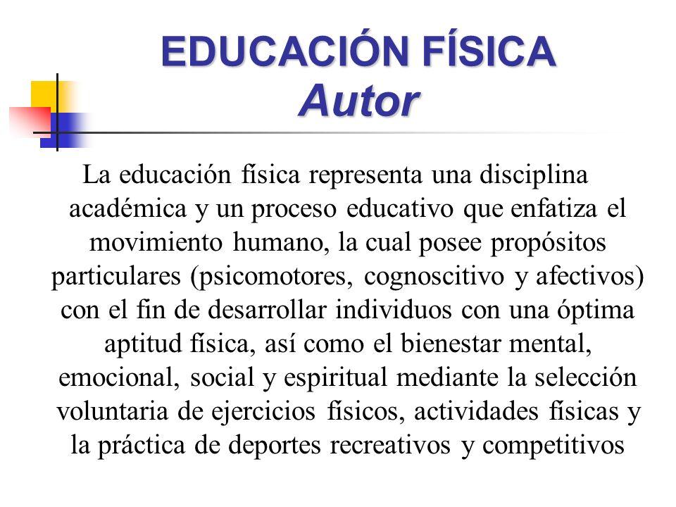 EDUCACIÓN FÍSICA Autor La educación física representa una disciplina académica y un proceso educativo que enfatiza el movimiento humano, la cual posee