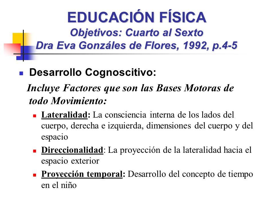 EDUCACIÓN FÍSICA Objetivos: Cuarto al Sexto Dra Eva Gonzáles de Flores, 1992, p.4-5 Desarrollo Cognoscitivo: Incluye Factores que son las Bases Motora