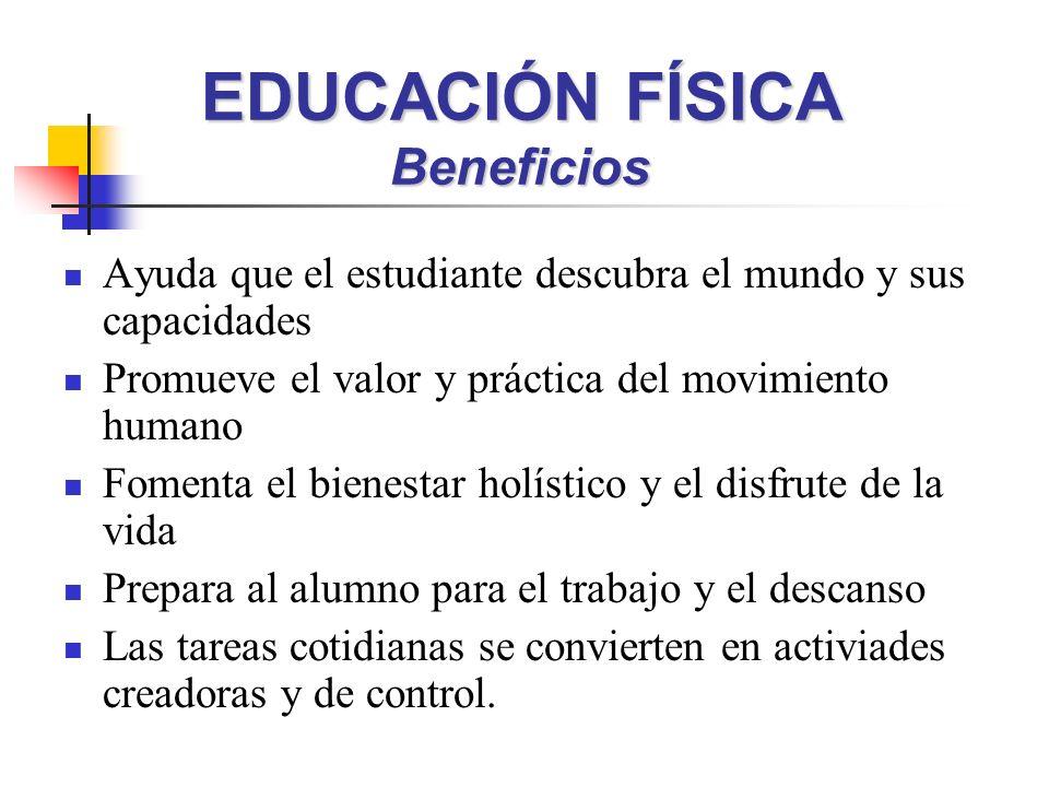 EDUCACIÓN FÍSICA Beneficios Ayuda que el estudiante descubra el mundo y sus capacidades Promueve el valor y práctica del movimiento humano Fomenta el
