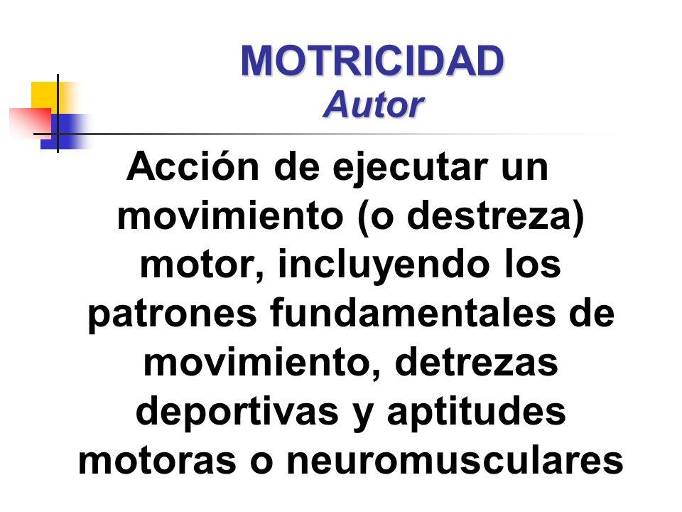 Acción de ejecutar un movimiento (o destreza) motor, incluyendo los patrones fundamentales de movimiento, detrezas deportivas y aptitudes motoras o ne
