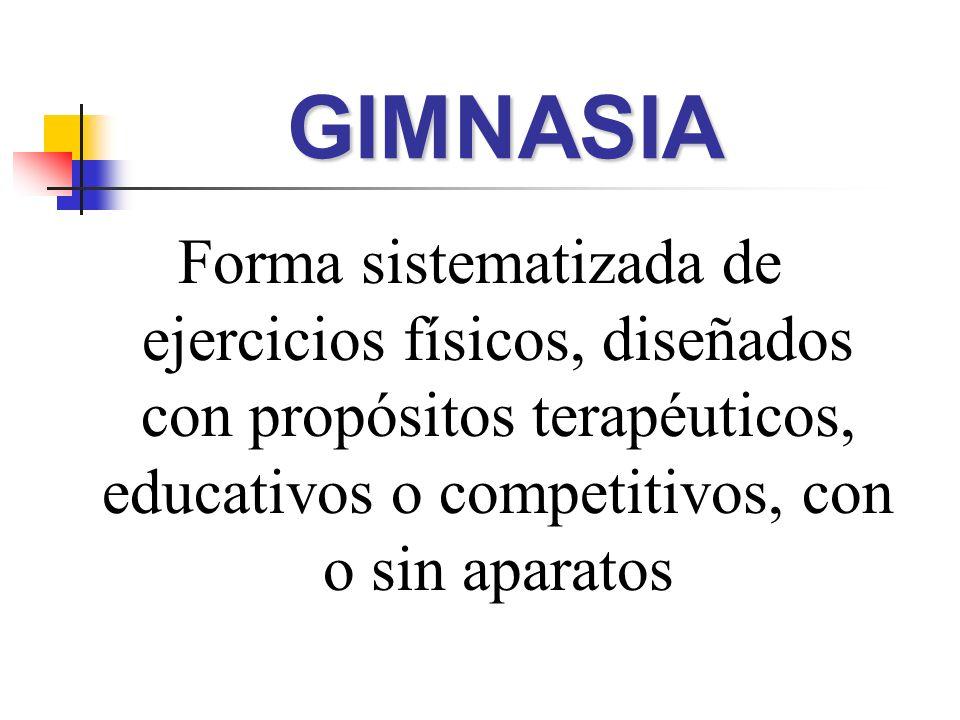 Forma sistematizada de ejercicios físicos, diseñados con propósitos terapéuticos, educativos o competitivos, con o sin aparatos GIMNASIAGIMNASIA