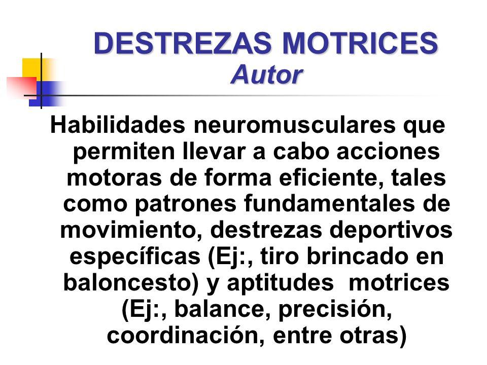 Habilidades neuromusculares que permiten llevar a cabo acciones motoras de forma eficiente, tales como patrones fundamentales de movimiento, destrezas
