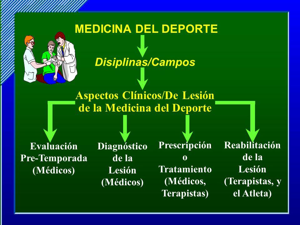 Disiplinas/Campos Aspectos Clínicos/De Lesión de la Medicina del Deporte Evaluación Pre-Temporada (Médicos) Diagnóstico de la Lesión (Médicos) Prescri