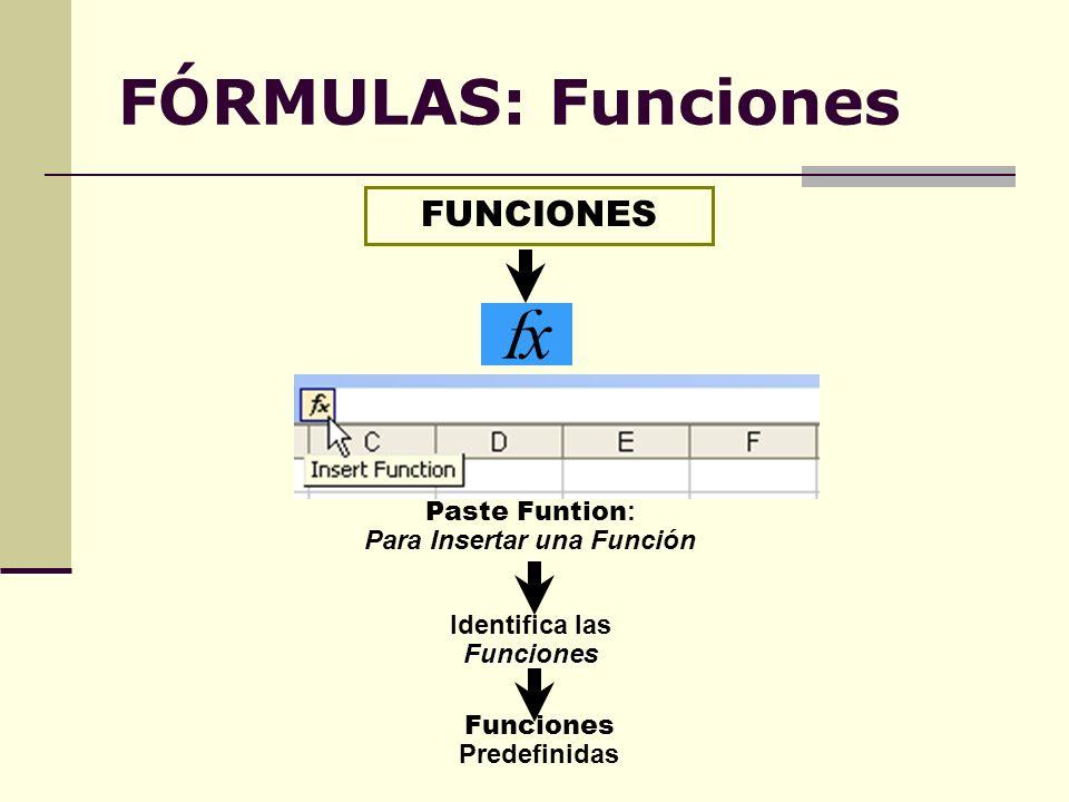 FÓRMULAS: Funciones FUNCIONES fxfx Paste Funtion : Para Insertar una Función Identifica lasFunciones Funciones Predefinidas