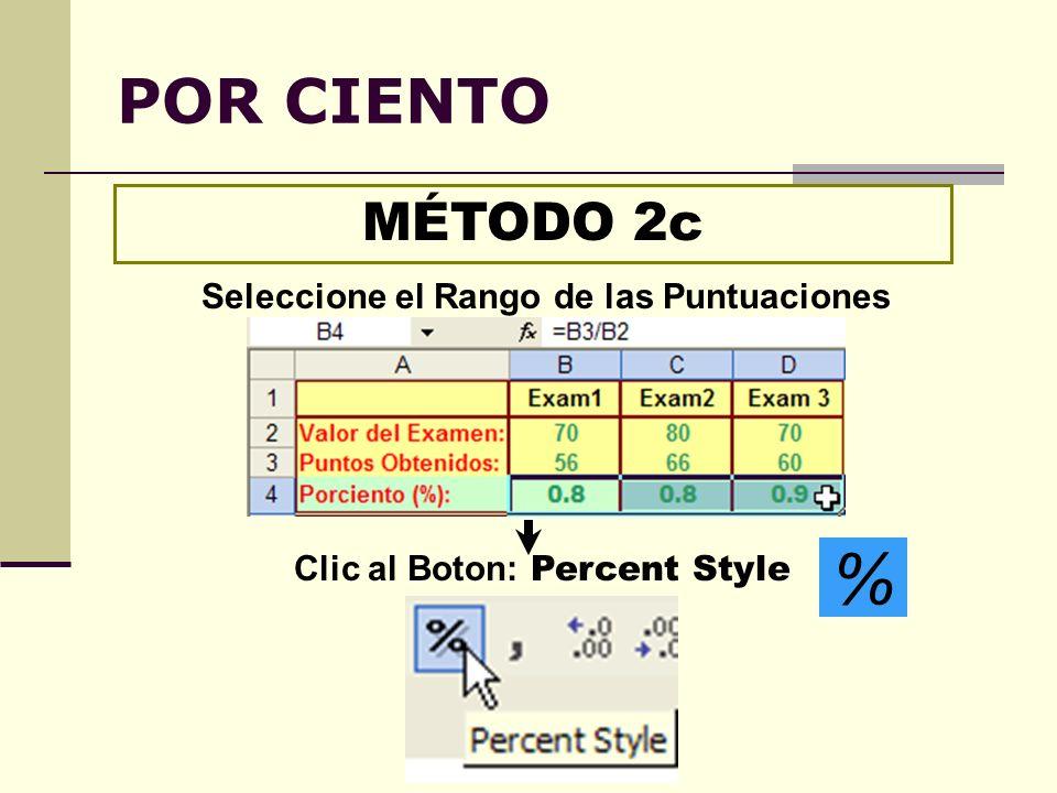 POR CIENTO MÉTODO 2c Clic al Boton: Percent Style % Seleccione el Rango de las Puntuaciones