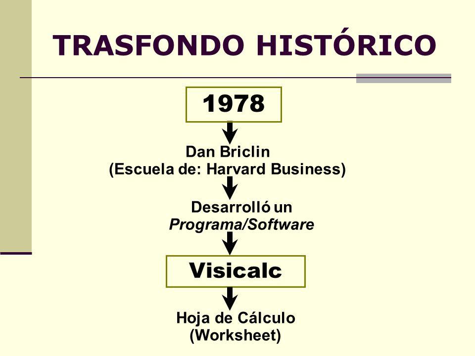 TRASFONDO HISTÓRICO Visicalc Dan Briclin (Escuela de: Harvard Business) 1978 Desarrolló un Programa/Software Hoja de Cálculo (Worksheet)