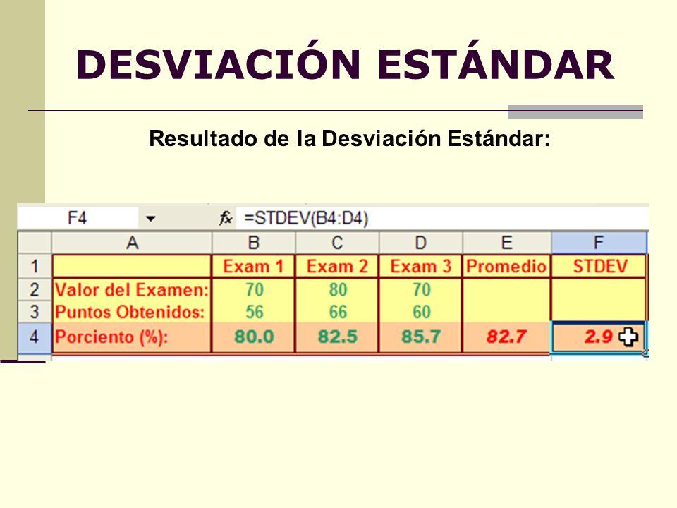 DESVIACIÓN ESTÁNDAR Resultado de la Desviación Estándar: