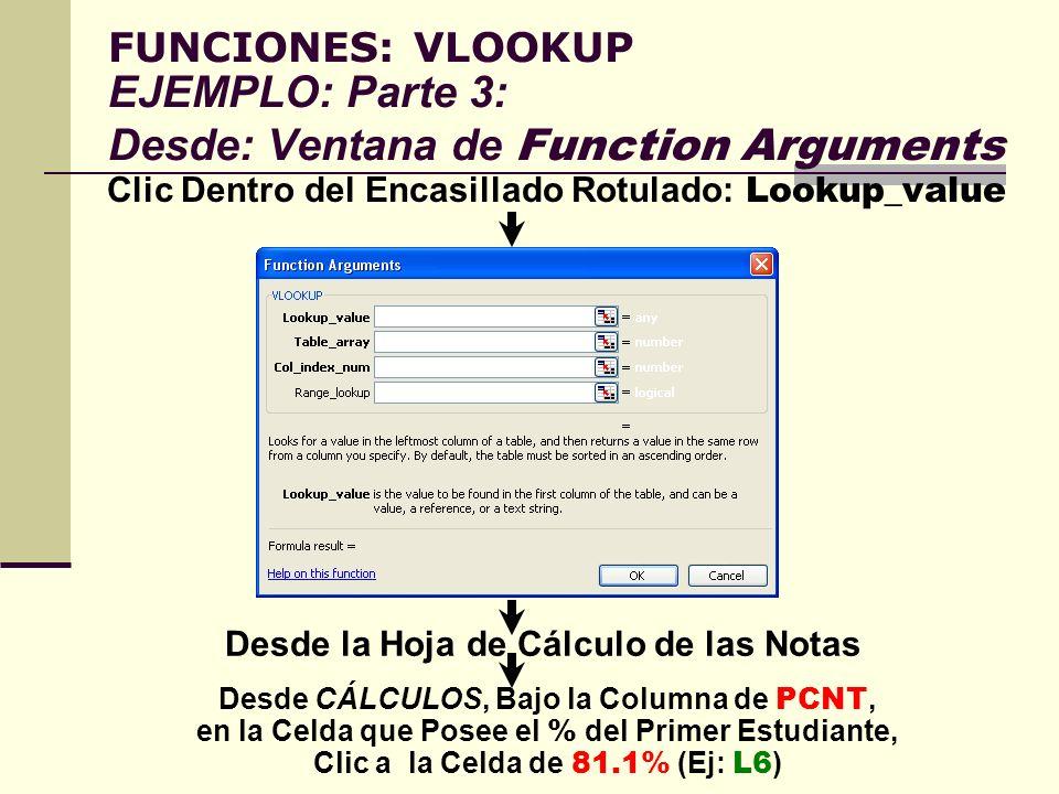 FUNCIONES: VLOOKUP EJEMPLO: Parte 3: Desde: Ventana de Function Arguments Clic Dentro del Encasillado Rotulado: Lookup_value Desde la Hoja de Cálculo