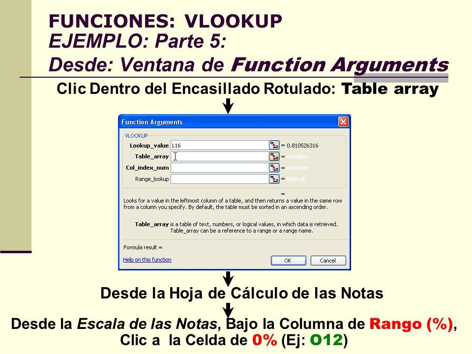 FUNCIONES: VLOOKUP EJEMPLO: Parte 5: Desde: Ventana de Function Arguments Clic Dentro del Encasillado Rotulado: Table array Desde la Hoja de Cálculo d
