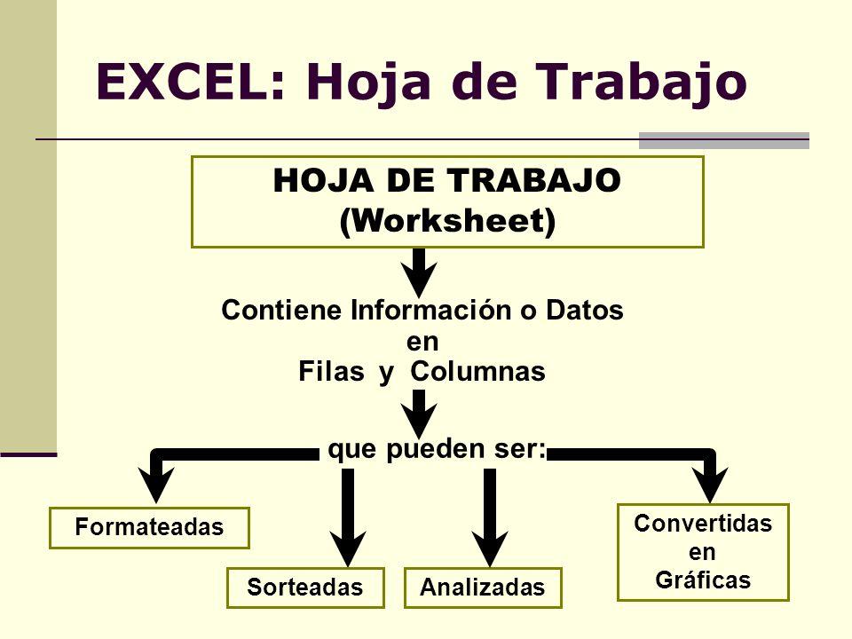EXCEL: Hoja de Trabajo HOJA DE TRABAJO (Worksheet) Contiene Información o Datos en Filas y Columnas Sorteadas Formateadas Analizadas Convertidas en Gr
