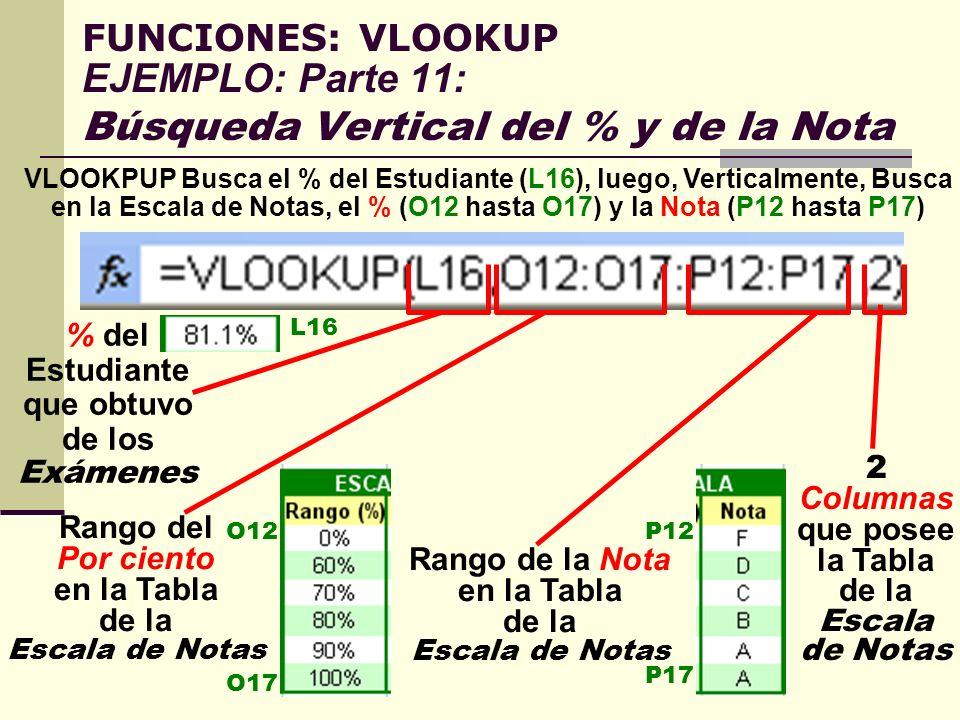 FUNCIONES: VLOOKUP EJEMPLO: Parte 11: Búsqueda Vertical del % y de la Nota VLOOKPUP Busca el % del Estudiante (L16), luego, Verticalmente, Busca en la