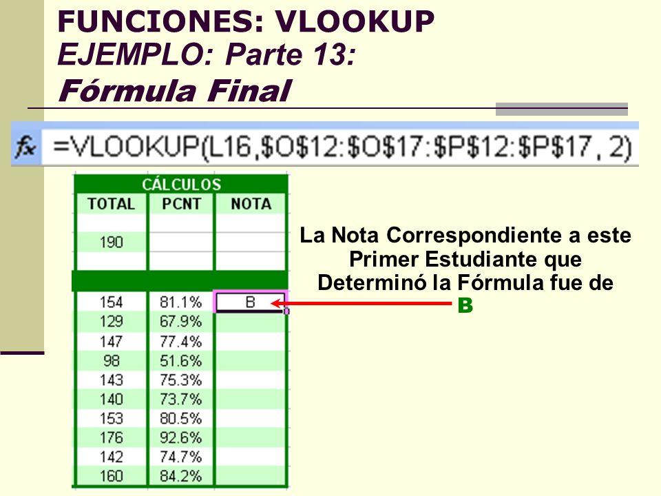 FUNCIONES: VLOOKUP EJEMPLO: Parte 13: Fórmula Final La Nota Correspondiente a este Primer Estudiante que Determinó la Fórmula fue de B