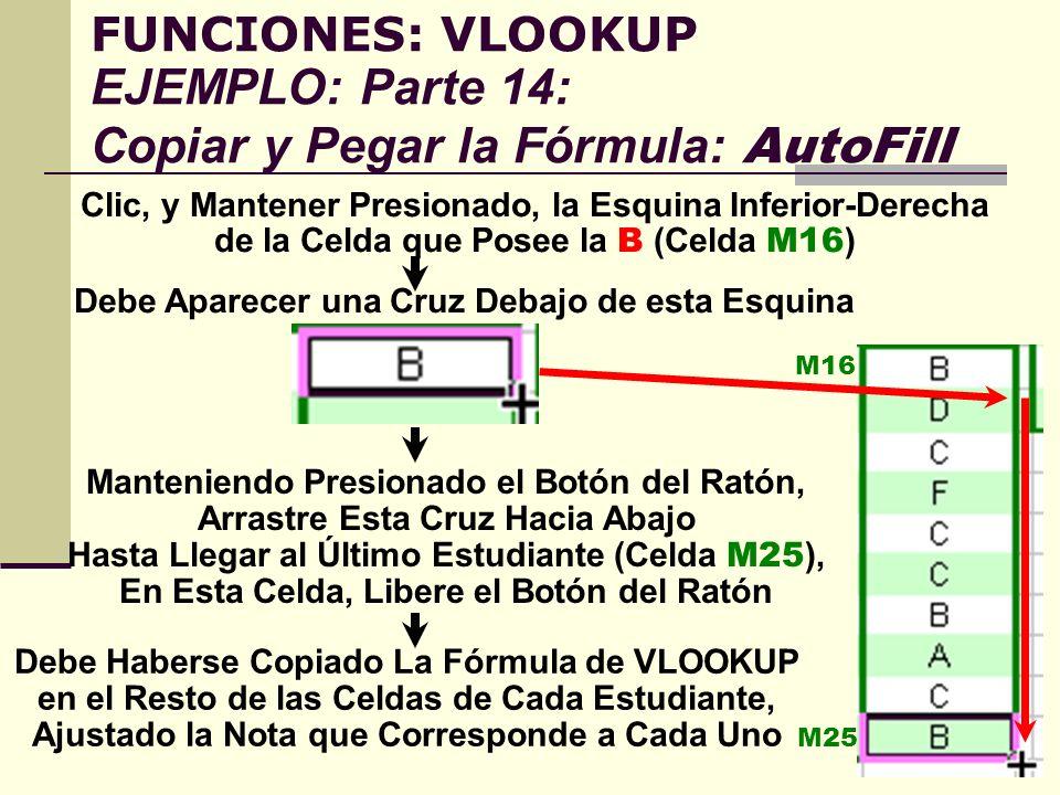 FUNCIONES: VLOOKUP EJEMPLO: Parte 14: Copiar y Pegar la Fórmula: AutoFill Clic, y Mantener Presionado, la Esquina Inferior-Derecha de la Celda que Pos