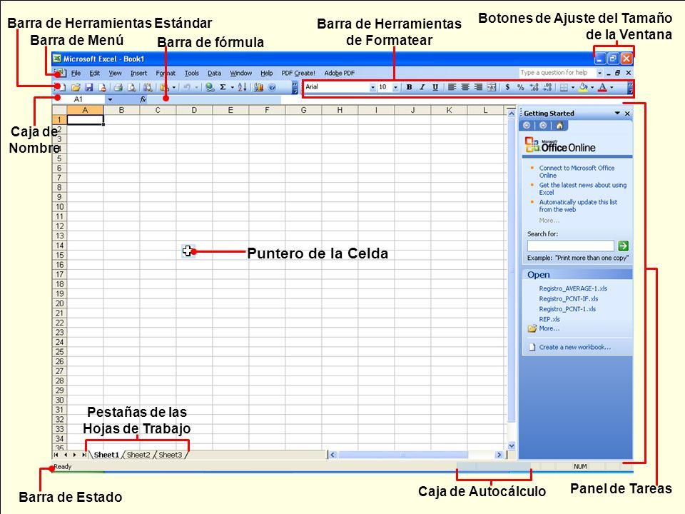 Barra de fórmula Puntero de la Celda Caja de Autocálculo Pestañas de las Hojas de Trabajo Barra de Estado Panel de Tareas Barra de Menú Barra de Herra