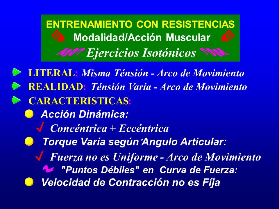 ENTRENAMIENTO CON RESISTENCIAS Ejercicios Isotónicos Modalidad/Acción Muscular LITERAL: Misma Ténsión - Arco de Movimiento Velocidad de Contracción no