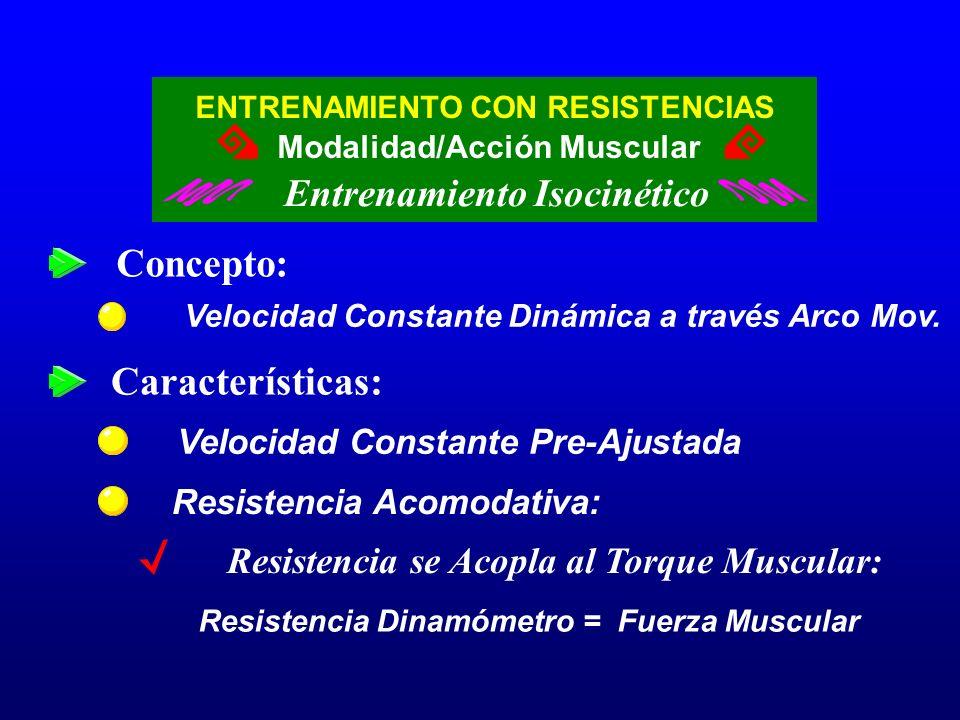 ENTRENAMIENTO CON RESISTENCIAS Entrenamiento Isocinético Modalidad/Acción Muscular Concepto: Velocidad Constante Dinámica a través Arco Mov. Velocidad