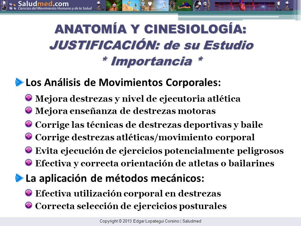 Copyright © 2013 Edgar Lopategui Corsino | Saludmed Funciones Orgánicas y Bioquímicas CINESIOLOGÍA Cinesiología Mecánica Cinesiología Fisiológica Cine