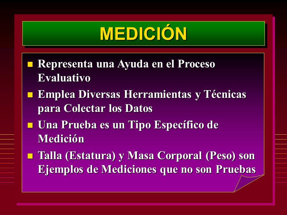 MEDICIÓNMEDICIÓN n Representa una Ayuda en el Proceso Evaluativo n Emplea Diversas Herramientas y Técnicas para Colectar los Datos n Una Prueba es un Tipo Específico de Medición n Talla (Estatura) y Masa Corporal (Peso) son Ejemplos de Mediciones que no son Pruebas