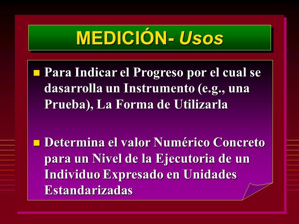MEDICIÓN- Usos n Para Indicar el Progreso por el cual se dasarrolla un Instrumento (e.g., una Prueba), La Forma de Utilizarla n Determina el valor Num