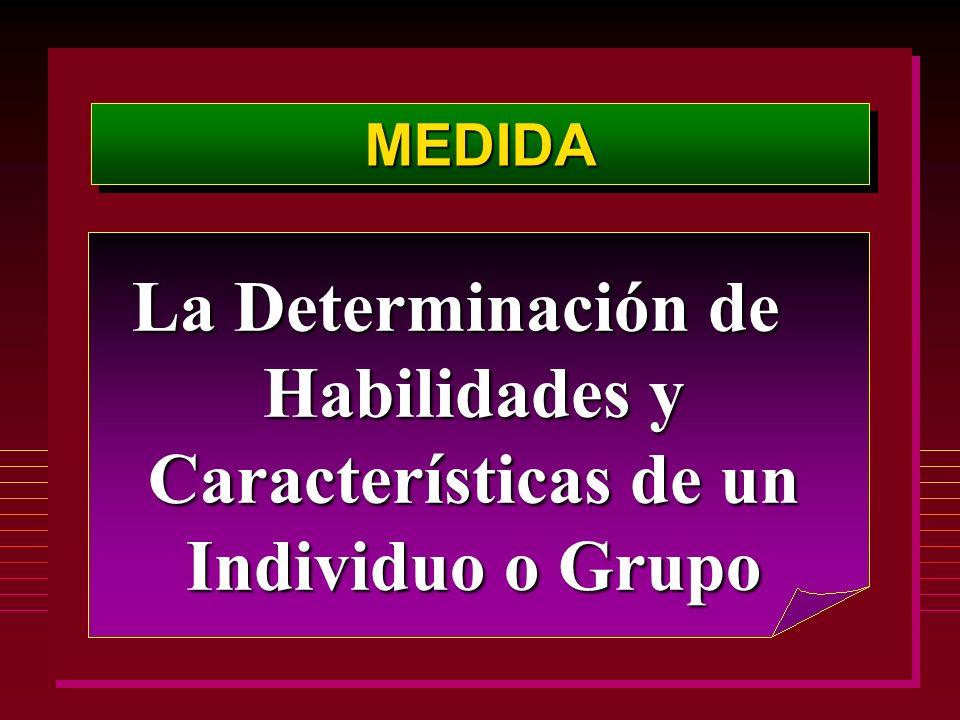 La Determinación de Habilidades y Características de un Individuo o Grupo MEDIDAMEDIDA