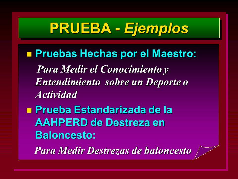 PRUEBA - Ejemplos n Pruebas Hechas por el Maestro: Para Medir el Conocimiento y Entendimiento sobre un Deporte o Actividad Para Medir el Conocimiento