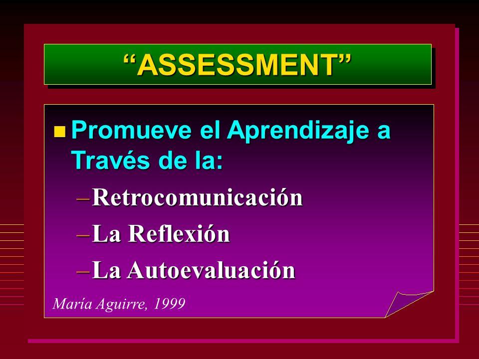 ASSESSMENTASSESSMENT Promueve el Aprendizaje a Través de la: Promueve el Aprendizaje a Través de la: –Retrocomunicación –La Reflexión –La Autoevaluación