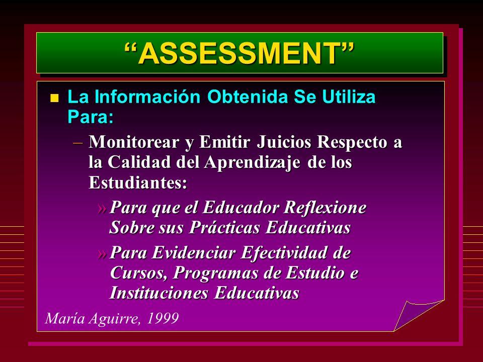 ASSESSMENTASSESSMENT María Aguirre, 1999 La Información Obtenida Se Utiliza Para: La Información Obtenida Se Utiliza Para: –Monitorear y Emitir Juicio