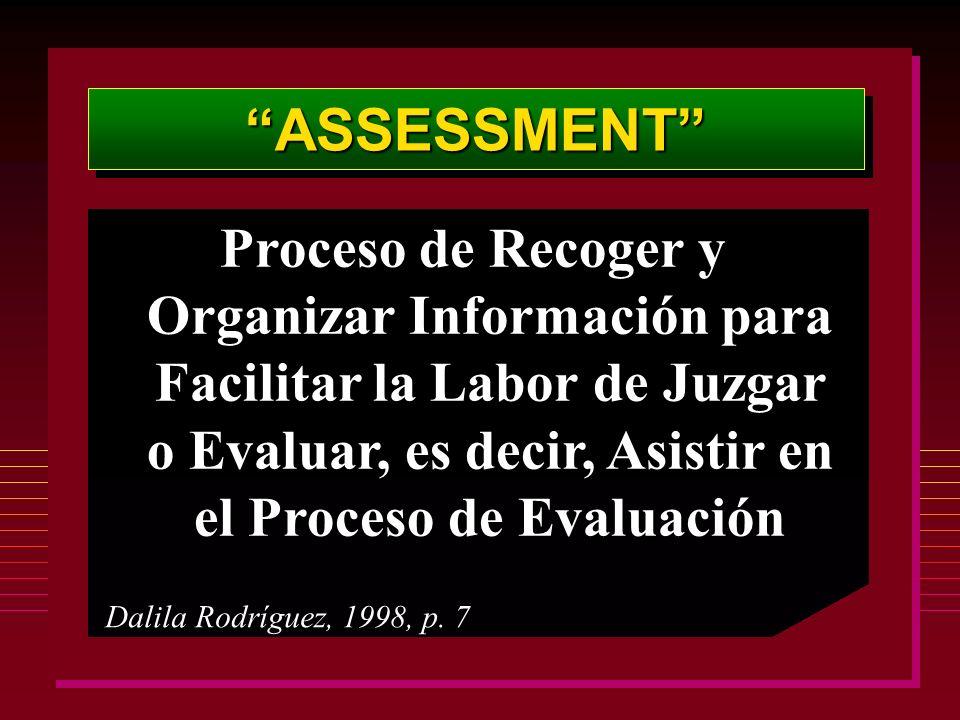 ASSESSMENTASSESSMENT Proceso de Recoger y Organizar Información para Facilitar la Labor de Juzgar o Evaluar, es decir, Asistir en el Proceso de Evaluación Dalila Rodríguez, 1998, p.