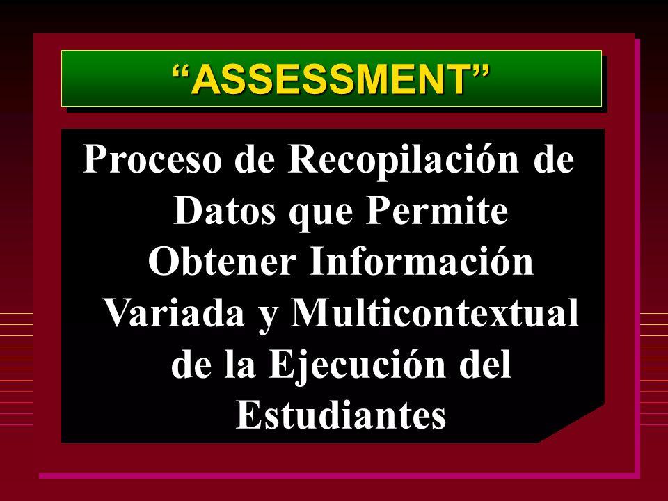 ASSESSMENTASSESSMENT Proceso de Recopilación de Datos que Permite Obtener Información Variada y Multicontextual de la Ejecución del Estudiantes