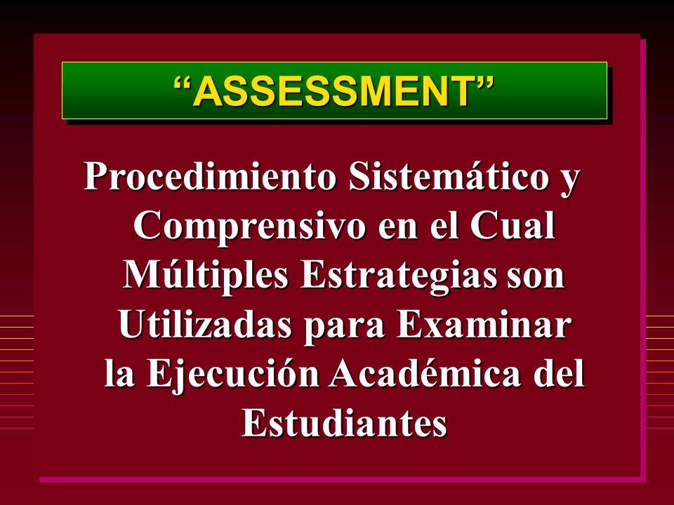 ASSESSMENTASSESSMENT Procedimiento Sistemático y Comprensivo en el Cual Múltiples Estrategias son Utilizadas para Examinar la Ejecución Académica del Estudiantes