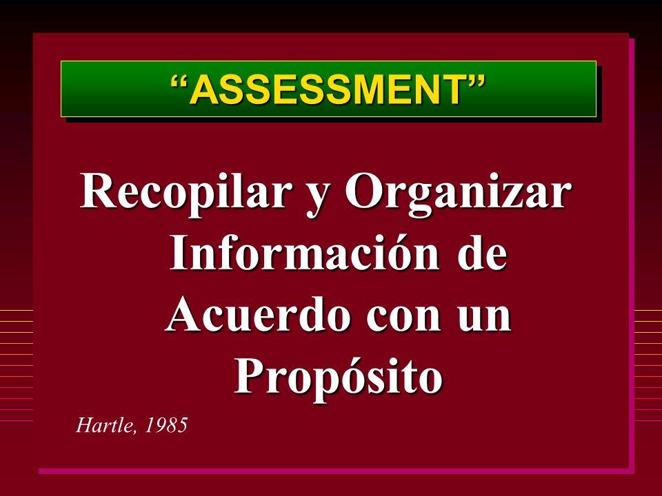 ASSESSMENTASSESSMENT Recopilar y Organizar Información de Acuerdo con un Propósito Hartle, 1985