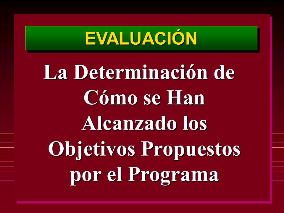 EVALUACIÓNEVALUACIÓN La Determinación de Cómo se Han Alcanzado los Objetivos Propuestos por el Programa