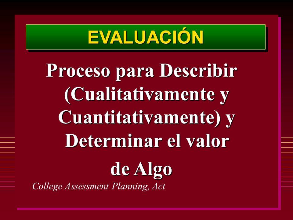EVALUACIÓNEVALUACIÓN Proceso para Describir (Cualitativamente y Cuantitativamente) y Determinar el valor de Algo College Assessment Planning, Act