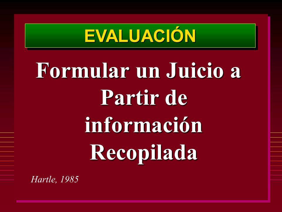 EVALUACIÓNEVALUACIÓN Formular un Juicio a Partir de información Recopilada Hartle, 1985