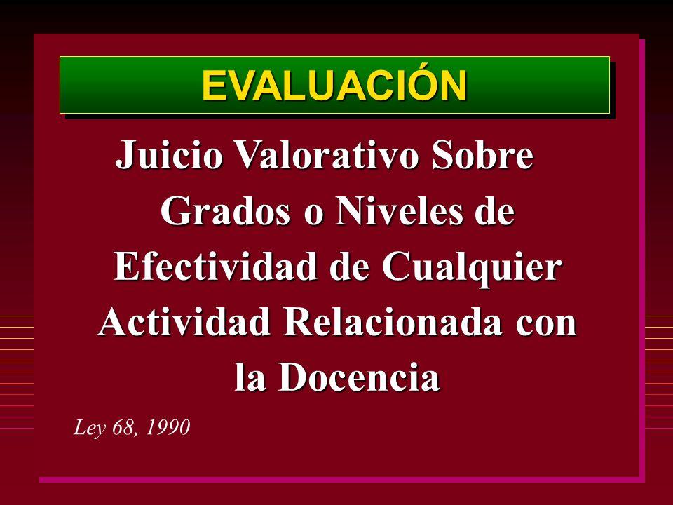 EVALUACIÓNEVALUACIÓN Juicio Valorativo Sobre Grados o Niveles de Efectividad de Cualquier Actividad Relacionada con la Docencia Ley 68, 1990
